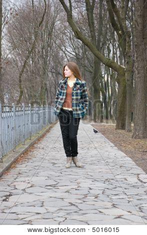 Pretty Young Woman Walking