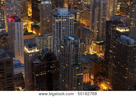 Chicago At Night Scenery
