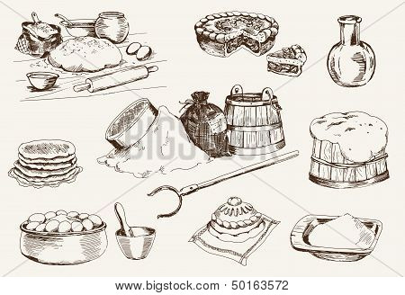dough at home. set of vector sketches poster