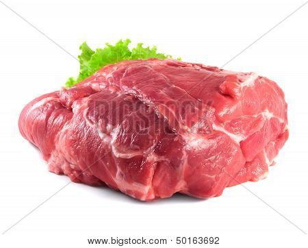 Pork neck carbonade. Raw pork meat with salad