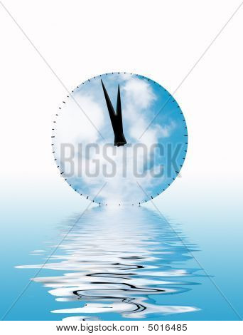 Time concept showing clock face with clouds and water reflection poster