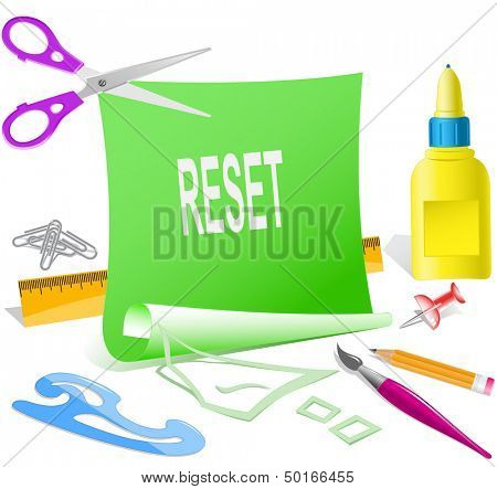 Reset. Paper template. Raster illustration.