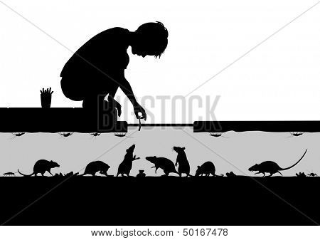 Illustrated silhouettes of a young boy feeding rats in a street sewer