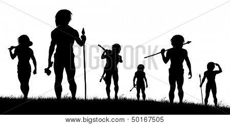 Illustrated silhouettes of cavemen hunters on patrol