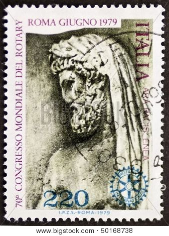 ITALY - CIRCA 1979: a stamp printed in Italy celebrates World Rotary congress in Rome showing an image of Aeneas drawn from Ara Pacis. Italy, circa 1979
