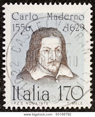 ITALY - CIRCA 1979: a stamp printed in Italy celebrates Carlo Maderno (1556 - 1629), Swiss-Italian architect, remembered as the creator of Saint Peter's Basilica facade in Rome. Italy, circa 1979