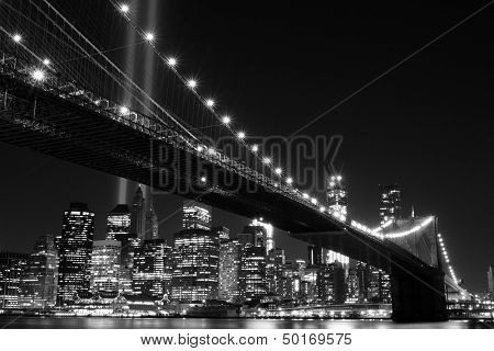 Brooklyn Bridge and the Towers of Lights (Tribute in Light) at Night, Manhattan, New York City