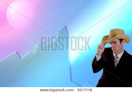 Business Cowboy In Front Of Stock Market Crash Financial Crisis Graph