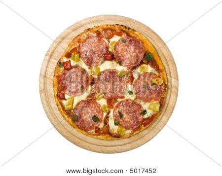 pizza with salami and pepperoncini on wooden platter isolated on white background poster
