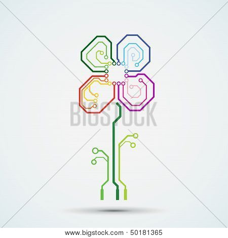 Vector tech background. Circuit board flower.