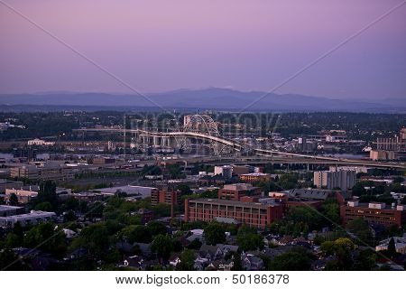 Portland Panorama with Fremont Bridge. Portland Oregon USA. American Cities Photography Collection. poster