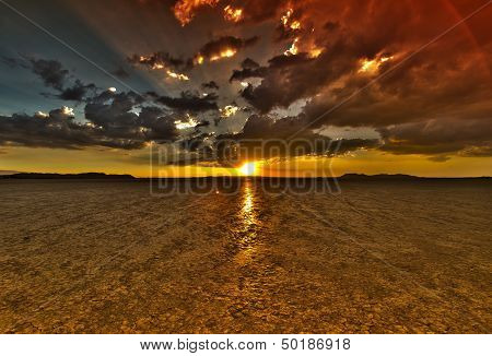 Dry Lake Sunset HDR - El Mirage OHV Recreation Area Mojave Desert California USA. Sunsets HDR Photo Collection poster