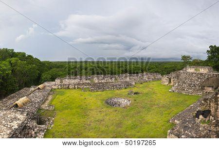 Panorama of Ek Balam city and jungle, Mexico