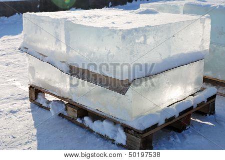 Big Translucent Ice Blocs In The Sunshine