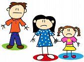Fun stick figure cartoon unhappy familydivorce or abuse concept poster