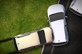 Cars Crash Illustration - Bird View (Top View) DUI Theme. Cars Side Collision / Accident. Transportation Illustration Collection. poster