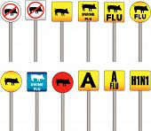 Swine Flu Signs of Danger and Attention with the new H1N1 Influenza A name poster