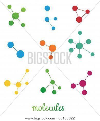 Multicolored Molecules Symbols Vector Set