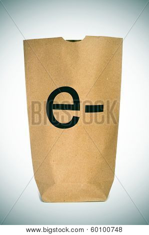 a shopping bag with the prefix e- written in it, depicting the e-shopping or e-commerce concepts