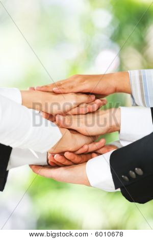 United Hands Over Green Background