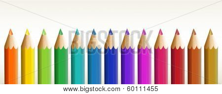 Illustration of the thirteen colorful pencils on a white background