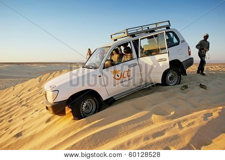 Jeep In Desert Sahara
