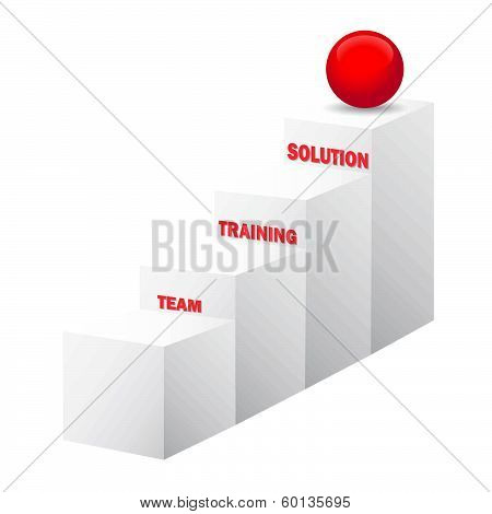 Team, Training, Solution Stairs, 3D Vector