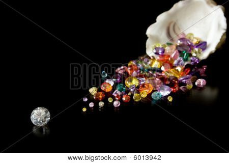 A large solitaire diamond with a trail of colorful gemstones behind emerging from an oyster shell poster