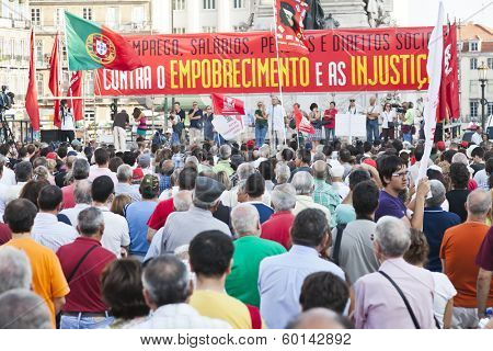 Lisbon, Portugal. October 01, 2011: Speech in the demonstration against IMF / austerity plan and for employment, salaries and pensions.