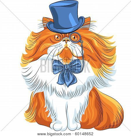 Vector Funny Cartoon Hipster Persian Cat