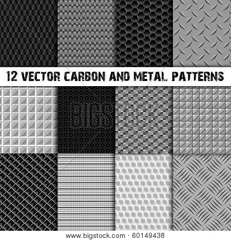 Set of 12 carbon and metal seamless pattern