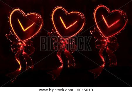 Abstract Background In The Form Of Three Fiery Hearts