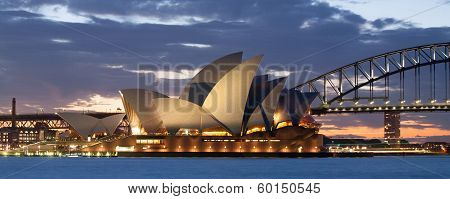Sydney Opera House and Bridge at Dusk