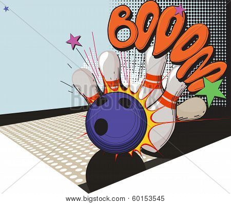 retro styled bowling game picture