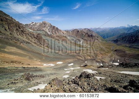 View from mountain pass in Kyrgyzstan