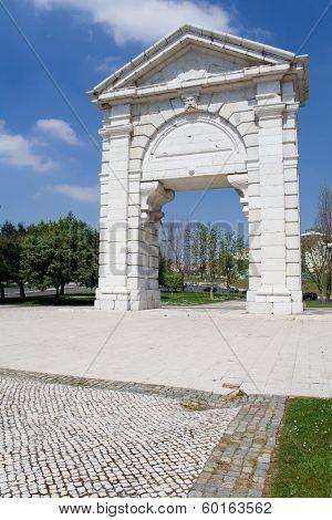 S. Bento Triumphal Arch in Espanha Square, Lisbon, Portugal