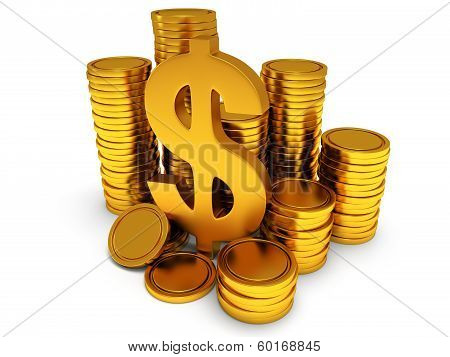 Dollar sign and golden coins on white.