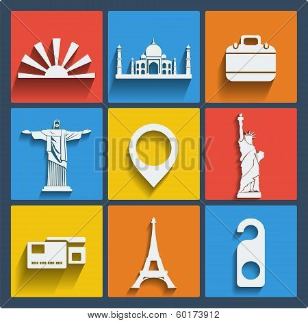 Set of 9 vector travel web and mobile icons