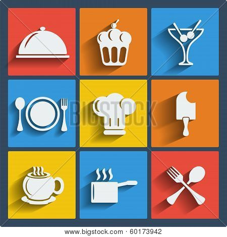 Set of 9 food vector web and mobile icons in flat design.