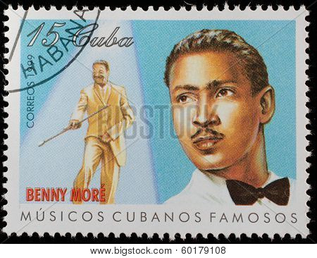 CUBA - CIRCA 1999: A stamp printed in cuba dedicated to famous Cuban musicians, shows Benny More, circa 1999
