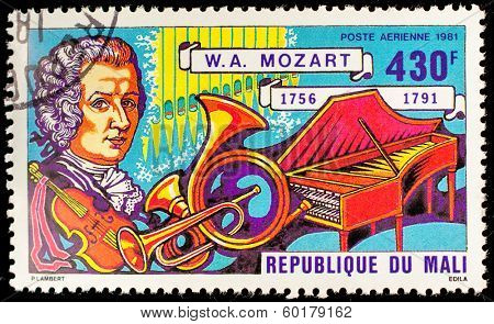 MALI - CIRCA 1981: A stamp printed by Mali, shows great composer Wolfgang Amadeus Mozarti, circa 1981