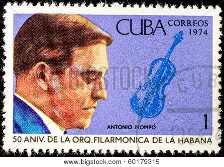 CUBA - CIRCA 1974: A stamp printed in the Cuba, shows the portrait of a musician - Antonio Mompo, circa 1974