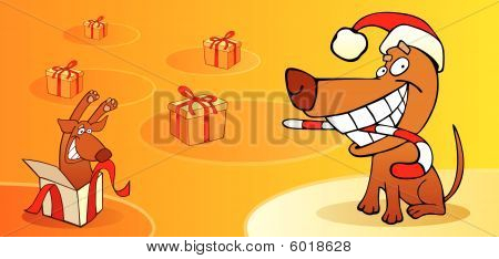 vector illustration of christmas card with dog poster