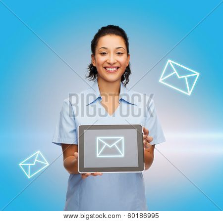 healthcare, communication, medicine and technology concept - smiling african american female doctor or nurse with tablet pc computer