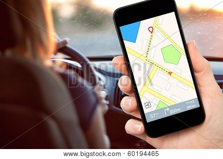 Female Driver Hand Holding A Phone With Interface Navigator