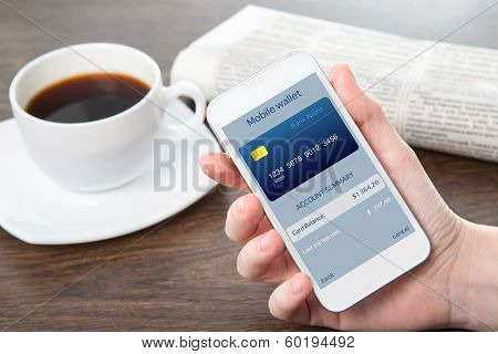 Businesswoman Hand Holding A Phone With Mobile Wallet Onlain Shopping On The Screen