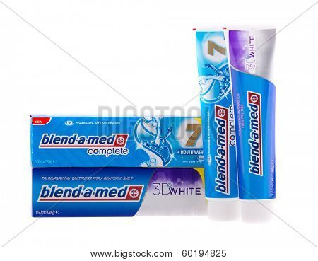 KRAKOW, POLAND - FEB 21, 2013: Studio shot packs toothpastes of Blend-A-Med. Blend-A-Med (Crest) is a brand of toothpaste made by Procter & Gamble sold worldwide, since 1987.