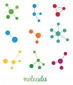 multicolored molecules symbols vector set on white poster