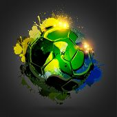 Colorful splashing with explosion soccer ball  on black poster