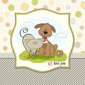 dog & cat's friendship, illustration in vector format poster